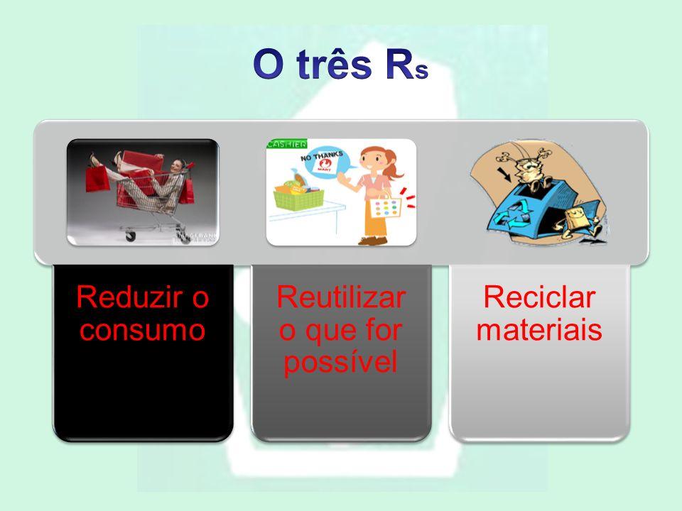 Reduzir o consumo Reutilizar o que for possível Reciclar materiais