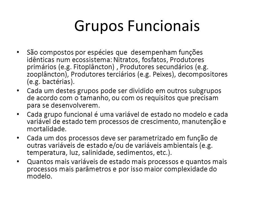 Grupos Funcionais São compostos por espécies que desempenham funções idênticas num ecossistema: Nitratos, fosfatos, Produtores primários (e.g. Fitoplâ