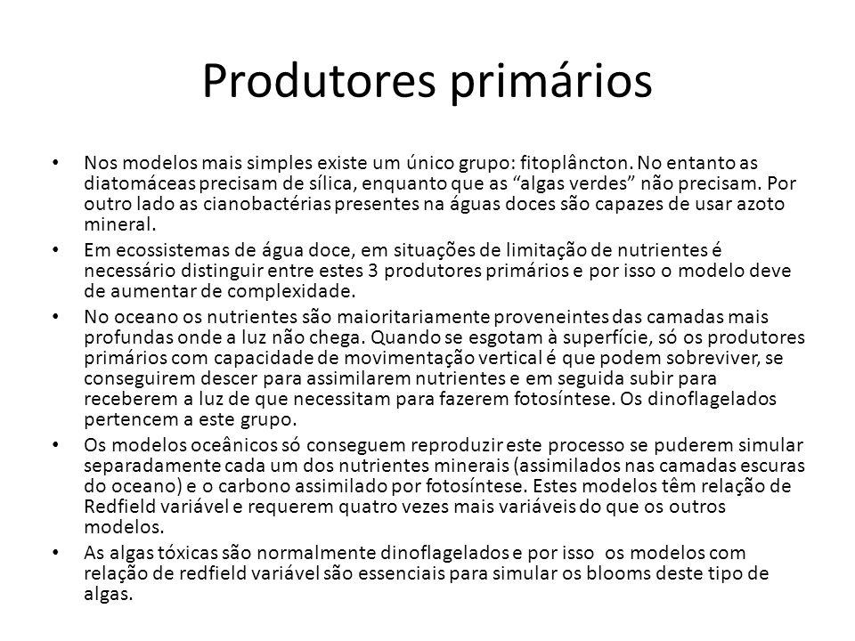 Produtores primários Nos modelos mais simples existe um único grupo: fitoplâncton. No entanto as diatomáceas precisam de sílica, enquanto que as algas