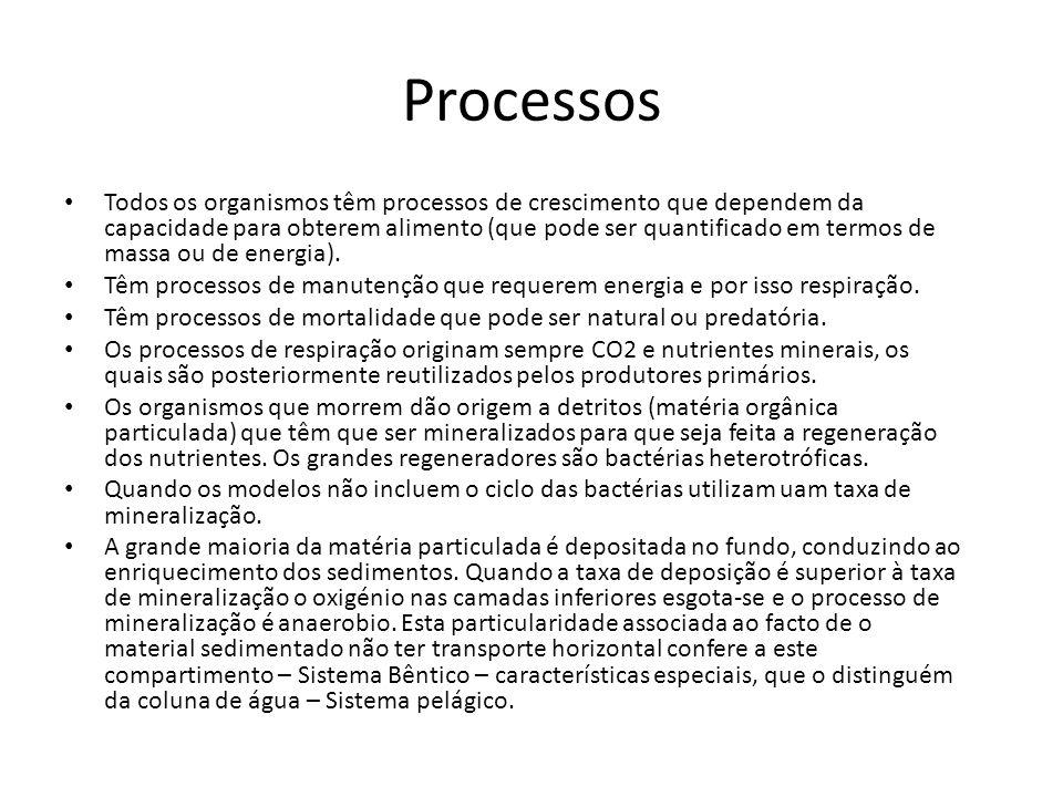 Processos Todos os organismos têm processos de crescimento que dependem da capacidade para obterem alimento (que pode ser quantificado em termos de ma