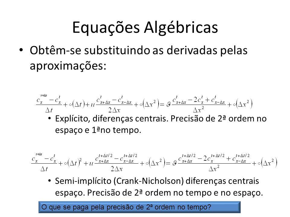 Equações Algébricas Obtêm-se substituindo as derivadas pelas aproximações: Explícito, diferenças centrais. Precisão de 2ª ordem no espaço e 1ªno tempo