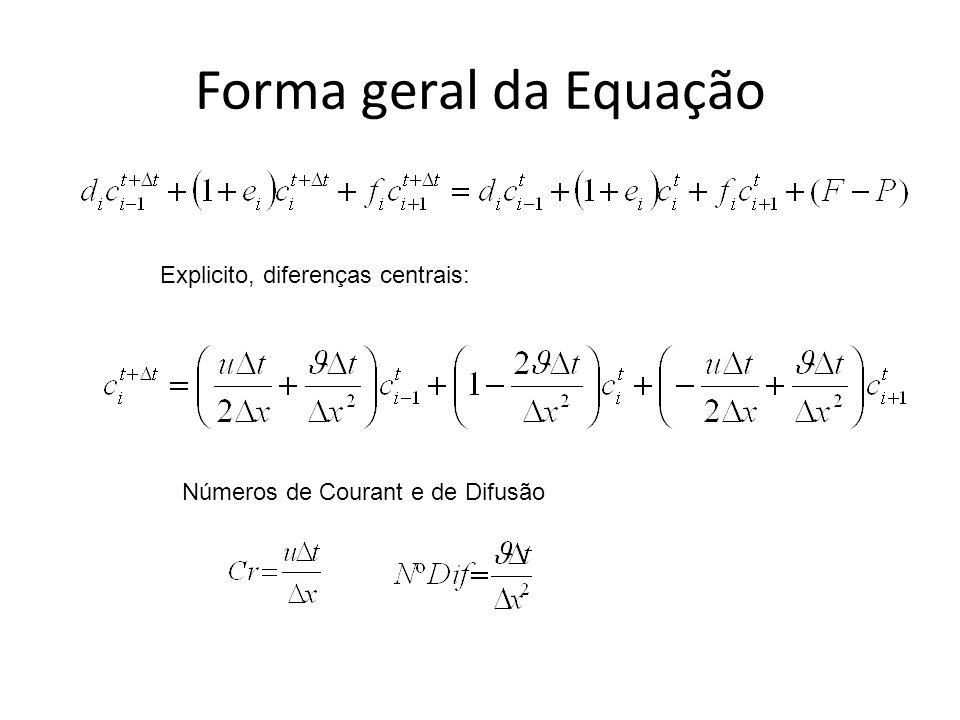 Forma geral da Equação Explicito, diferenças centrais: Números de Courant e de Difusão