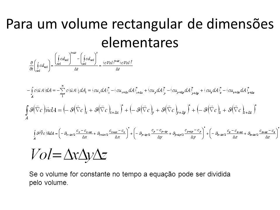Para um volume rectangular de dimensões elementares Se o volume for constante no tempo a equação pode ser dividida pelo volume.