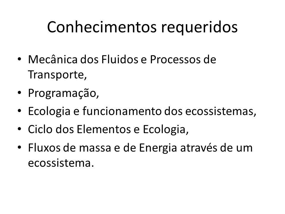 Conhecimentos requeridos Mecânica dos Fluidos e Processos de Transporte, Programação, Ecologia e funcionamento dos ecossistemas, Ciclo dos Elementos e