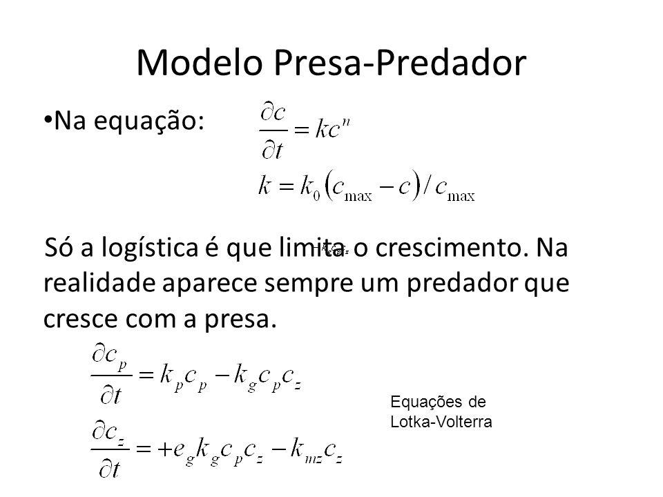 Modelo Presa-Predador Na equação: Só a logística é que limita o crescimento. Na realidade aparece sempre um predador que cresce com a presa. Equações