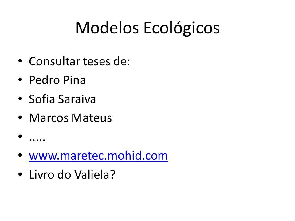 Modelos Ecológicos Consultar teses de: Pedro Pina Sofia Saraiva Marcos Mateus..... www.maretec.mohid.com Livro do Valiela?