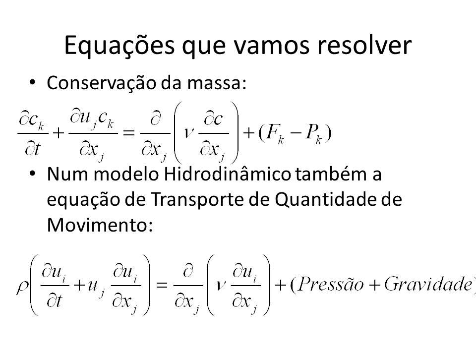 Equações que vamos resolver Conservação da massa: Num modelo Hidrodinâmico também a equação de Transporte de Quantidade de Movimento: