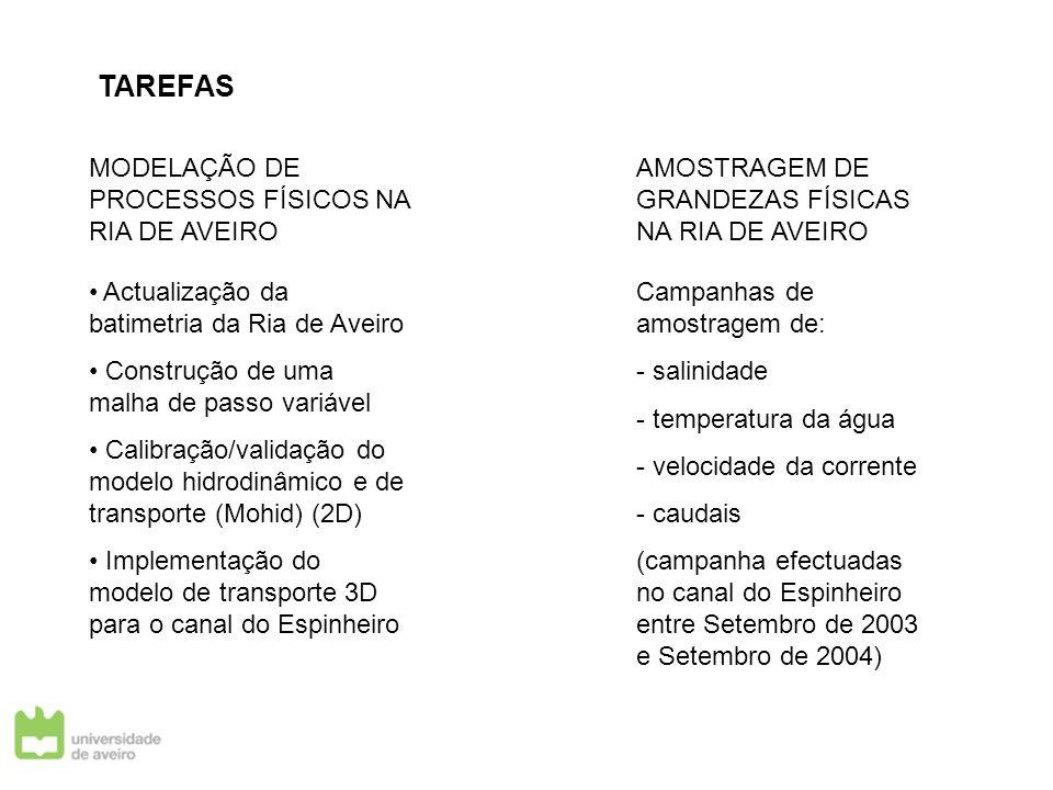 TAREFAS MODELAÇÃO DE PROCESSOS FÍSICOS NA RIA DE AVEIRO AMOSTRAGEM DE GRANDEZAS FÍSICAS NA RIA DE AVEIRO Actualização da batimetria da Ria de Aveiro C