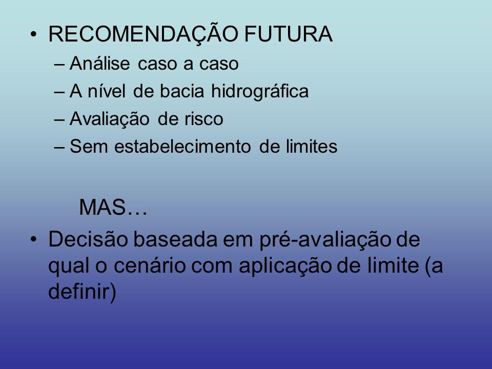RECOMENDAÇÃO FUTURA –Análise caso a caso –A nível de bacia hidrográfica –Avaliação de risco –Sem estabelecimento de limites MAS… Decisão baseada em pr