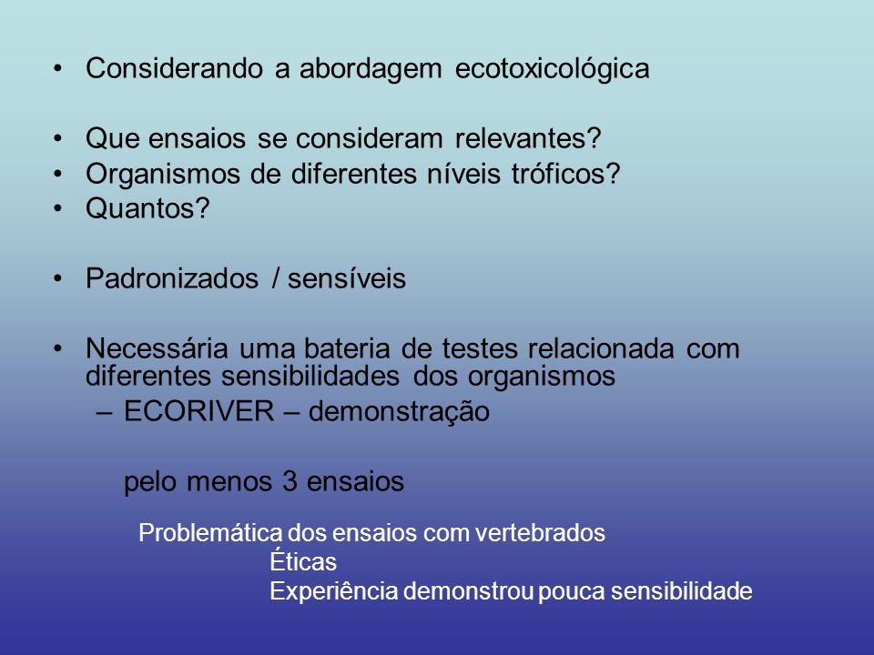 Considerando a abordagem ecotoxicológica Que ensaios se consideram relevantes? Organismos de diferentes níveis tróficos? Quantos? Padronizados / sensí