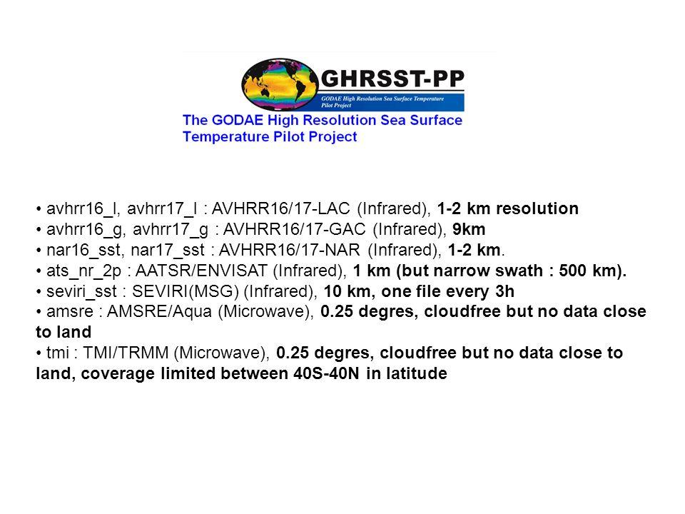 avhrr16_l, avhrr17_l : AVHRR16/17-LAC (Infrared), 1-2 km resolution avhrr16_g, avhrr17_g : AVHRR16/17-GAC (Infrared), 9km nar16_sst, nar17_sst : AVHRR16/17-NAR (Infrared), 1-2 km.