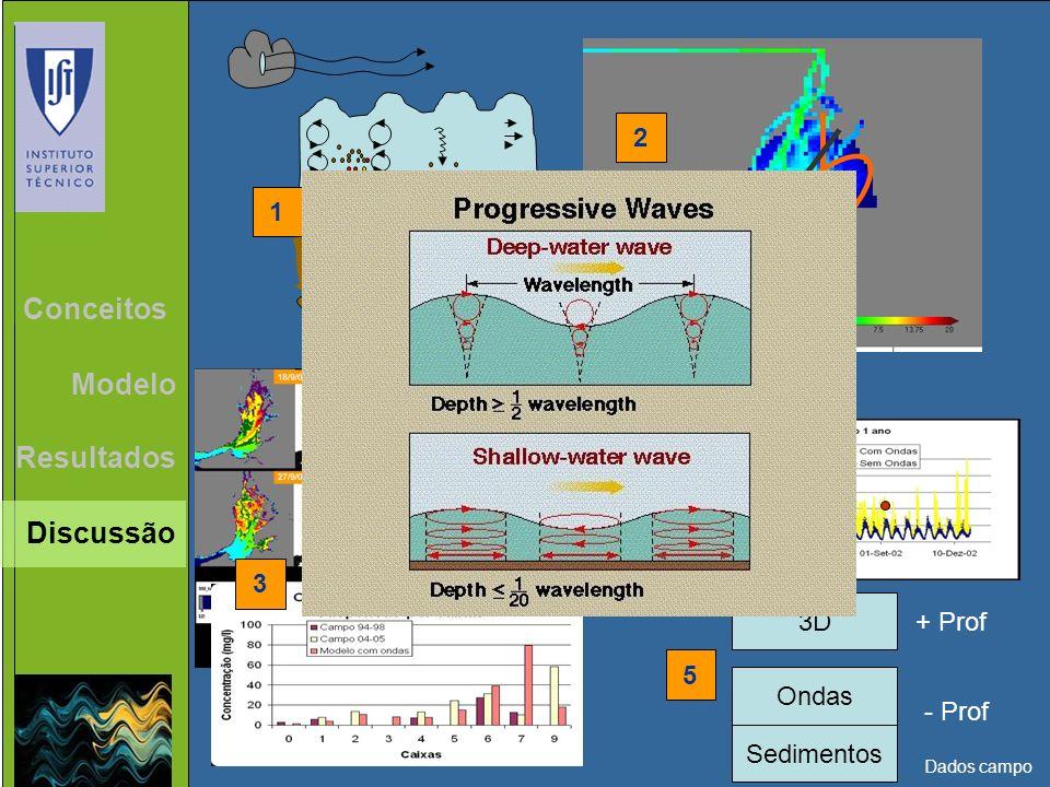 Resultados Conceitos Modelo 1 2 3 4 Conclusões Discussão Ondas 5 3D Sedimentos + Prof - Prof Dados campo