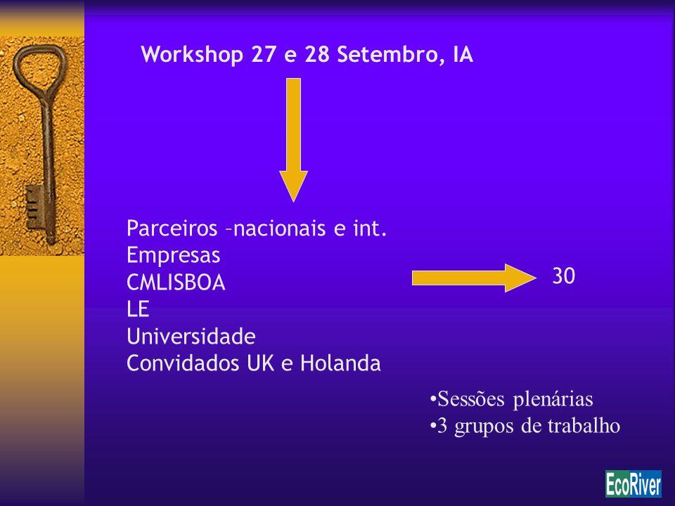 Workshop 27 e 28 Setembro, IA Parceiros –nacionais e int. Empresas CMLISBOA LE Universidade Convidados UK e Holanda 30 Sessões plenárias 3 grupos de t