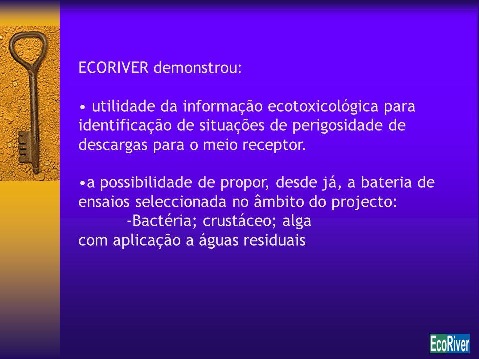 ECORIVER demonstrou: utilidade da informação ecotoxicológica para identificação de situações de perigosidade de descargas para o meio receptor. a poss