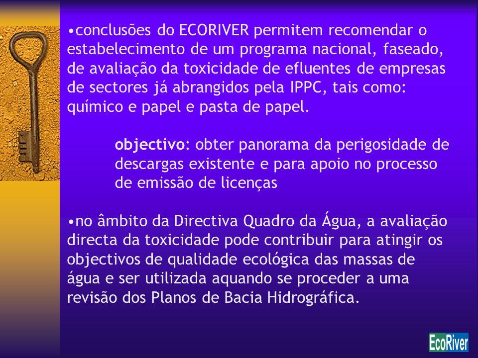 conclusões do ECORIVER permitem recomendar o estabelecimento de um programa nacional, faseado, de avaliação da toxicidade de efluentes de empresas de