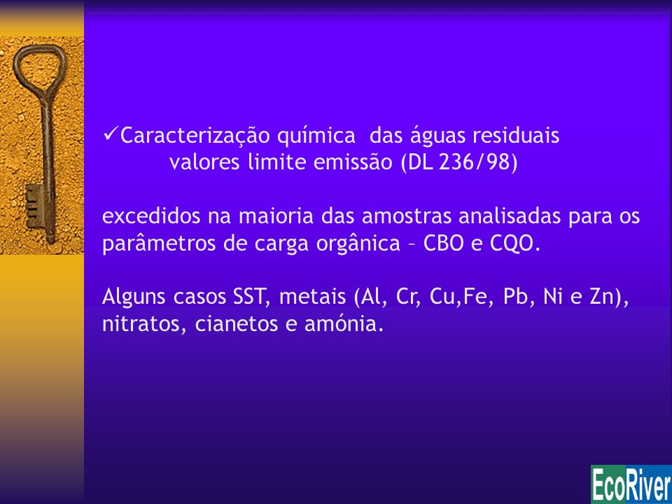 Caracterização química das águas residuais valores limite emissão (DL 236/98) excedidos na maioria das amostras analisadas para os parâmetros de carga