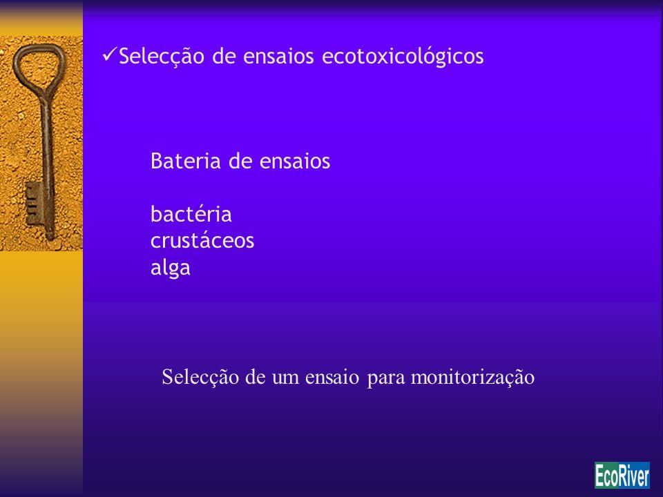 Selecção de ensaios ecotoxicológicos Bateria de ensaios bactéria crustáceos alga Selecção de um ensaio para monitorização