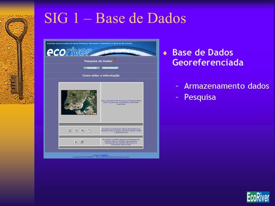 SIG 1 – Base de Dados Base de Dados Georeferenciada –Armazenamento dados –Pesquisa