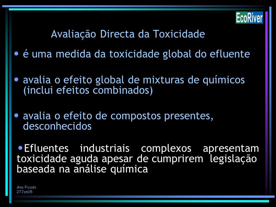 Ana Picado 27Jan05 Avaliação Directa da Toxicidade é uma medida da toxicidade global do efluente avalia o efeito global de mixturas de químicos (inclu