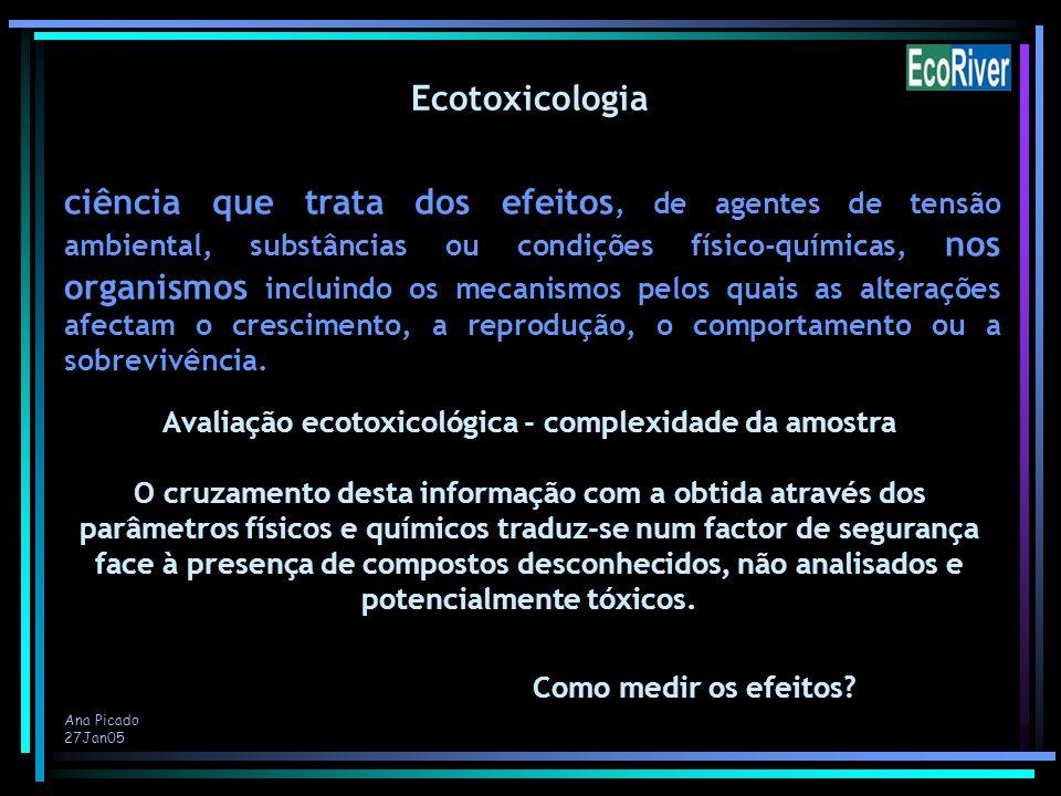 Ana Picado 27Jan05 ciência que trata dos efeitos, de agentes de tensão ambiental, substâncias ou condições físico-químicas, nos organismos incluindo o