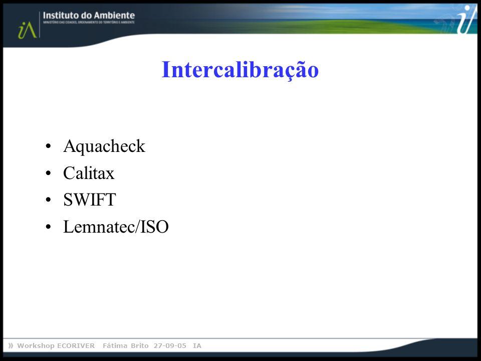 Workshop ECORIVER Fátima Brito 27-09-05 IA Aquacheck Calitax SWIFT Lemnatec/ISO Intercalibração