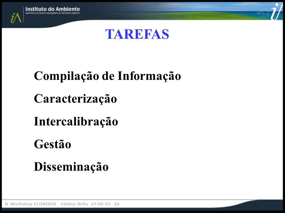 Workshop ECORIVER Fátima Brito 27-09-05 IA TAREFAS Compilação de Informação Caracterização Intercalibração Gestão Disseminação