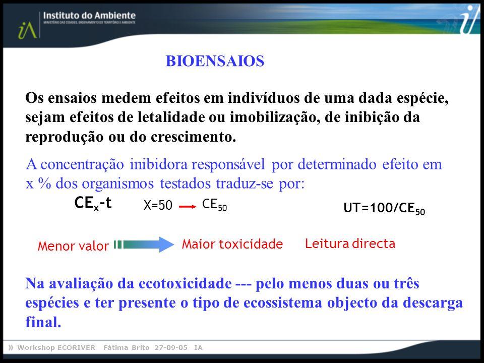 Workshop ECORIVER Fátima Brito 27-09-05 IA Os ensaios medem efeitos em indivíduos de uma dada espécie, sejam efeitos de letalidade ou imobilização, de
