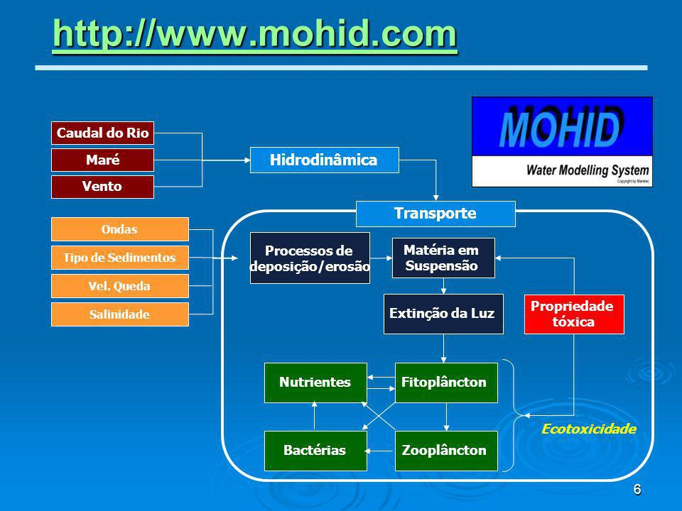7 Sistema Integrado Mohid Base 1 Process, IO and Function modules Executable Library Interprocess Communication Triangulator River Network Mohid Base 2 Grid and Atmosphere modules 0D Main Basin Delineator Digital Terrain Creator MOHID Water Mohid Base 3 Soil modules MOHID Soil MOHID Land Global Data, Water Quality, Sediment Quality, EnterData, HDF, Functions, Time, LUD, Triangulation, Time Series,...