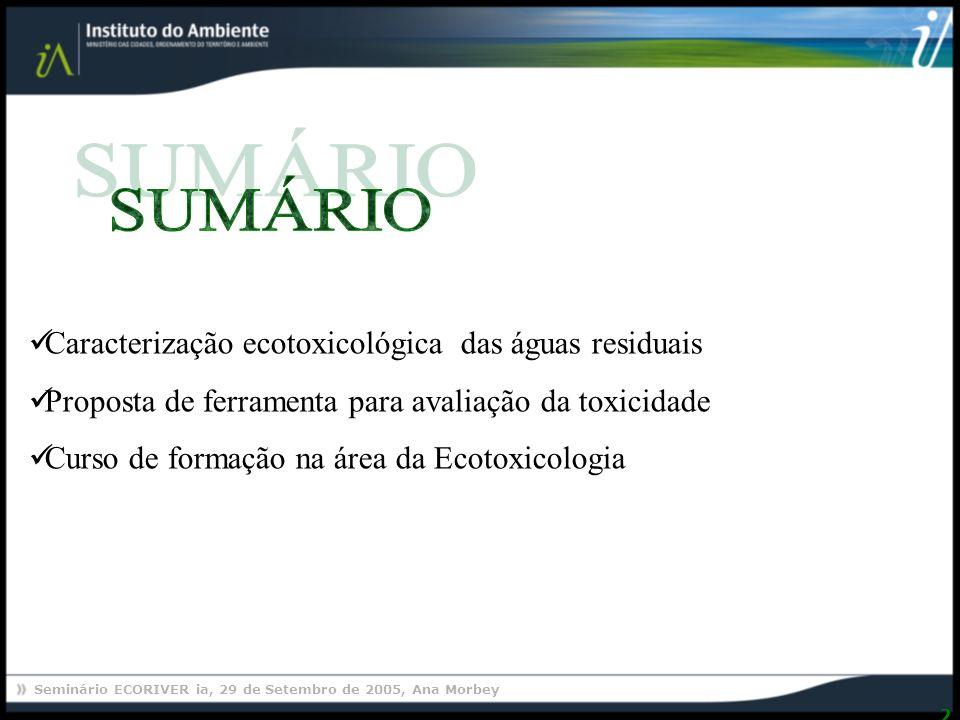 Seminário ECORIVER ia, 29 de Setembro de 2005, Ana Morbey 2 Caracterização ecotoxicológica das águas residuais Proposta de ferramenta para avaliação da toxicidade Curso de formação na área da Ecotoxicologia