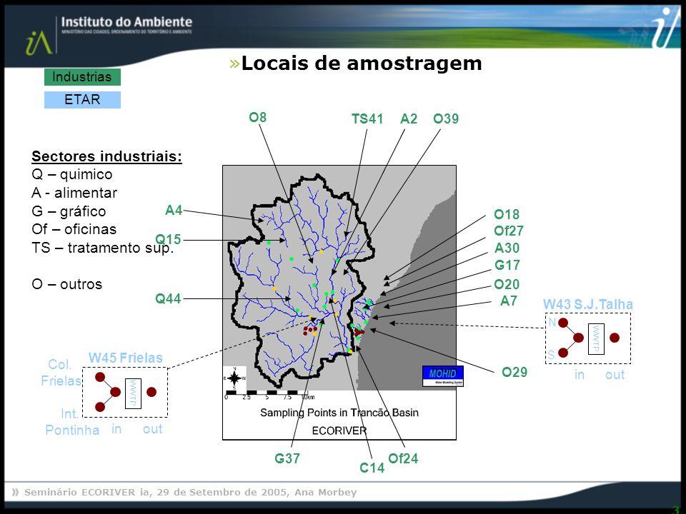 Seminário ECORIVER ia, 29 de Setembro de 2005, Ana Morbey 24 Caracterização ecotoxicológica das águas residuais Proposta de ferramenta para avaliação da toxicidade Curso de formação na área da Ecotoxicologia
