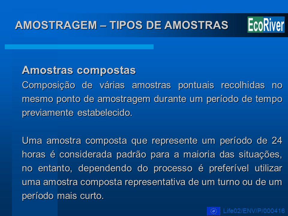 AMOSTRAGEM – TIPOS DE AMOSTRAS Amostras compostas Composição de várias amostras pontuais recolhidas no mesmo ponto de amostragem durante um período de