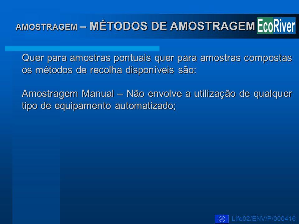 AMOSTRAGEM – MÉTODOS DE AMOSTRAGEM Quer para amostras pontuais quer para amostras compostas os métodos de recolha disponíveis são: Amostragem Manual –