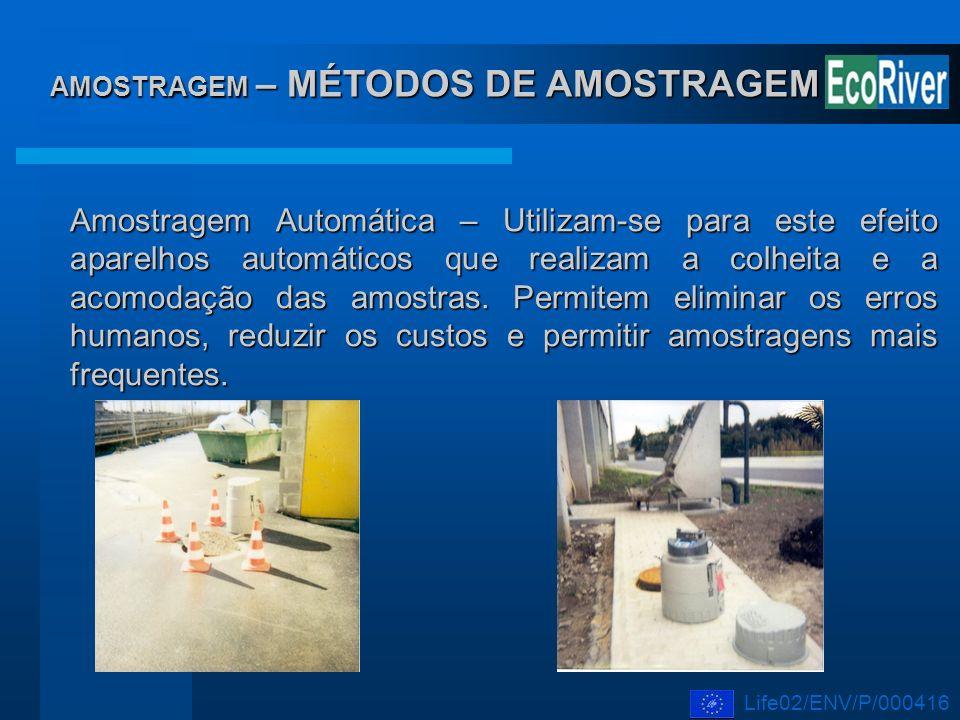 AMOSTRAGEM – MÉTODOS DE AMOSTRAGEM Amostragem Automática – Utilizam-se para este efeito aparelhos automáticos que realizam a colheita e a acomodação d