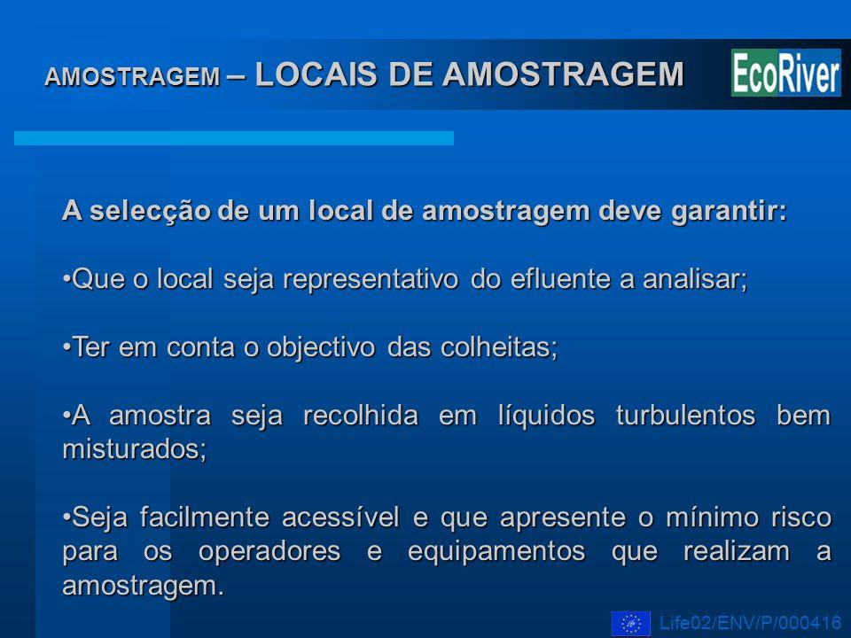 AMOSTRAGEM – LOCAIS DE AMOSTRAGEM A selecção de um local de amostragem deve garantir: Que o local seja representativo do efluente a analisar;Que o loc