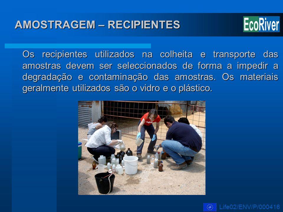 AMOSTRAGEM – RECIPIENTES Os recipientes utilizados na colheita e transporte das amostras devem ser seleccionados de forma a impedir a degradação e con
