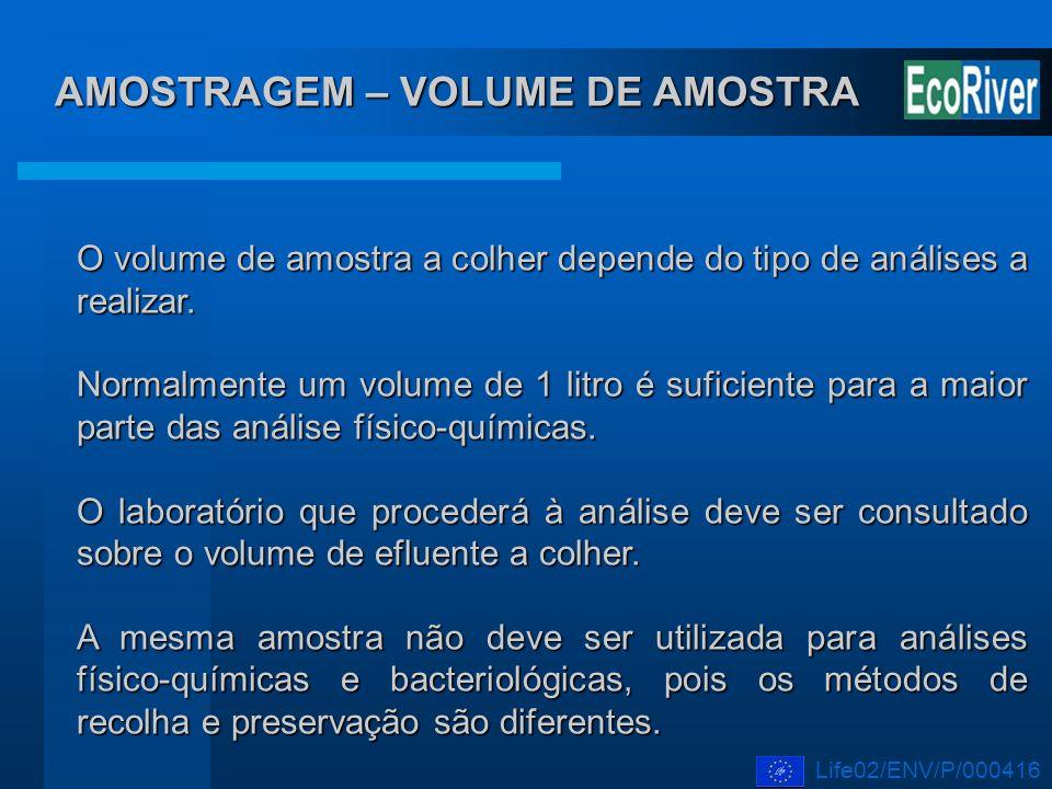 AMOSTRAGEM – VOLUME DE AMOSTRA O volume de amostra a colher depende do tipo de análises a realizar. Normalmente um volume de 1 litro é suficiente para