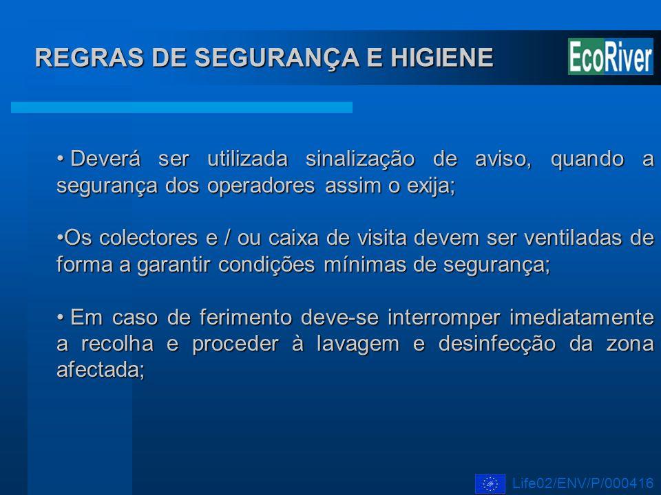 REGRAS DE SEGURANÇA E HIGIENE Deverá ser utilizada sinalização de aviso, quando a segurança dos operadores assim o exija; Deverá ser utilizada sinaliz