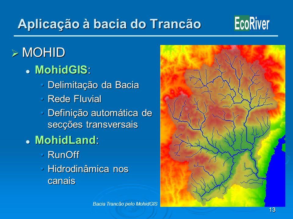 13 Aplicação à bacia do Trancão MOHID MOHID MohidGIS: MohidGIS: Delimitação da BaciaDelimitação da Bacia Rede FluvialRede Fluvial Definição automática