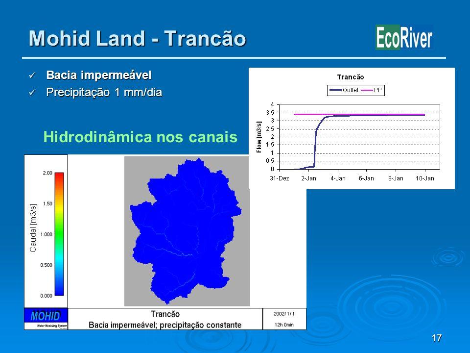 17 Mohid Land - Trancão Bacia impermeável Bacia impermeável Precipitação 1 mm/dia Precipitação 1 mm/dia Caudal [m3/s] Hidrodinâmica nos canais