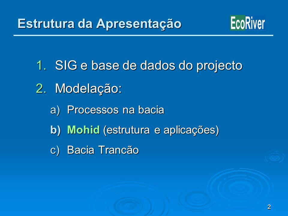 2 Estrutura da Apresentação 1.SIG e base de dados do projecto 2.Modelação: a)Processos na bacia b)Mohid (estrutura e aplicações) c)Bacia Trancão