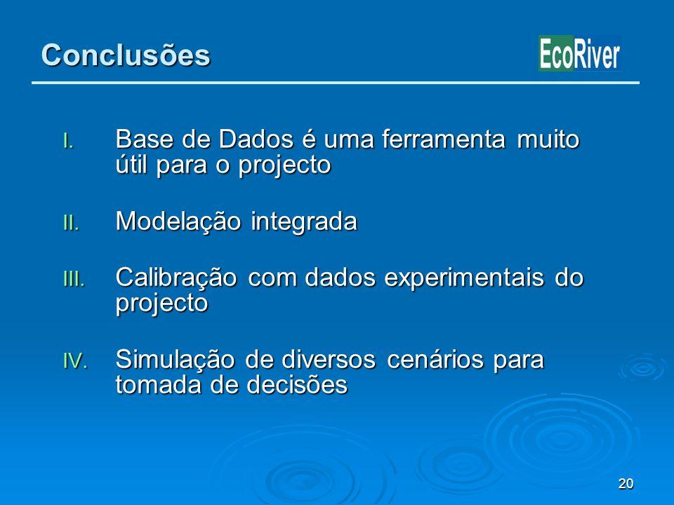 20 Conclusões I. Base de Dados é uma ferramenta muito útil para o projecto II. Modelação integrada III. Calibração com dados experimentais do projecto