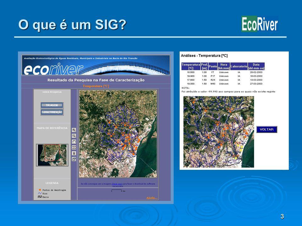 3 O que é um SIG? Dados: Dados: Armazenamento Armazenamento Tratamento Tratamento Análise Análise Georeferenciação Georeferenciação Partilha Partilha