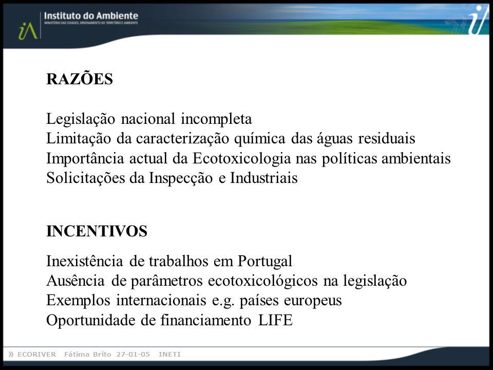 ECORIVER Fátima Brito 27-01-05 INETI RAZÕES Legislação nacional incompleta Limitação da caracterização química das águas residuais Importância actual da Ecotoxicologia nas políticas ambientais Solicitações da Inspecção e Industriais INCENTIVOS Inexistência de trabalhos em Portugal Ausência de parâmetros ecotoxicológicos na legislação Exemplos internacionais e.g.