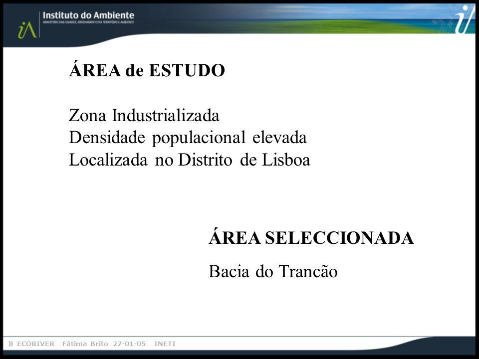 ECORIVER Fátima Brito 27-01-05 INETI ÁREA SELECCIONADA Bacia do Trancão ÁREA de ESTUDO Zona Industrializada Densidade populacional elevada Localizada no Distrito de Lisboa