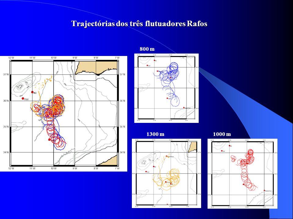 Trajectórias dos três flutuadores Rafos 800 m 1000 m1300 m