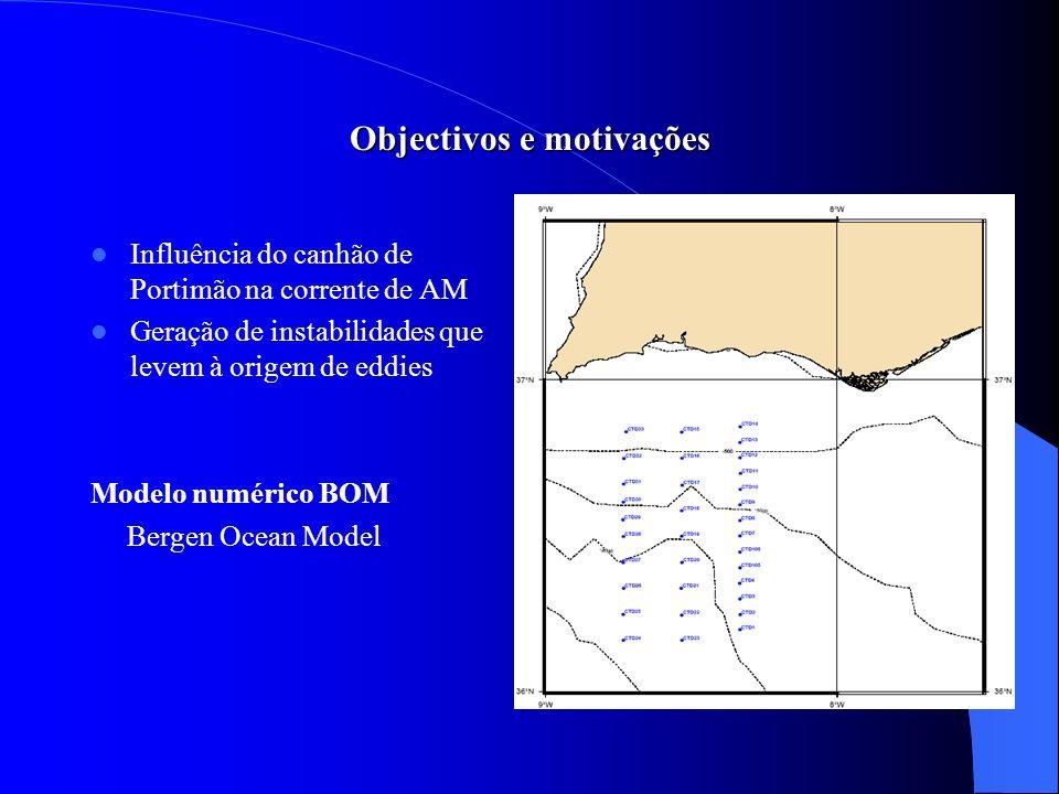 Objectivos e motivações Influência do canhão de Portimão na corrente de AM Geração de instabilidades que levem à origem de eddies Modelo numérico BOM