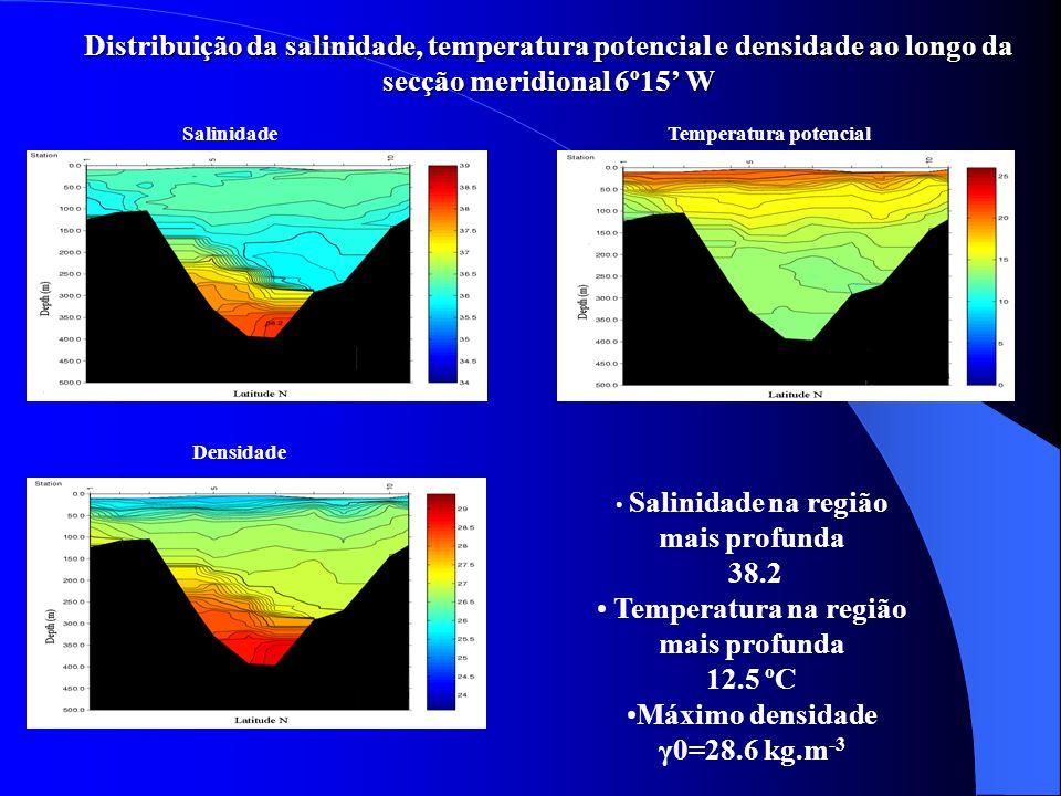 SalinidadeTemperatura potencial Núcleo superior centrado a 700 m Núcleo inferior centrado a 1100 m Aos 1100 m parte da Água Mediterrânica separa-se da vertente continental Distribuição da salinidade e temperatura potencial ao longo da secção zonal 35º50N