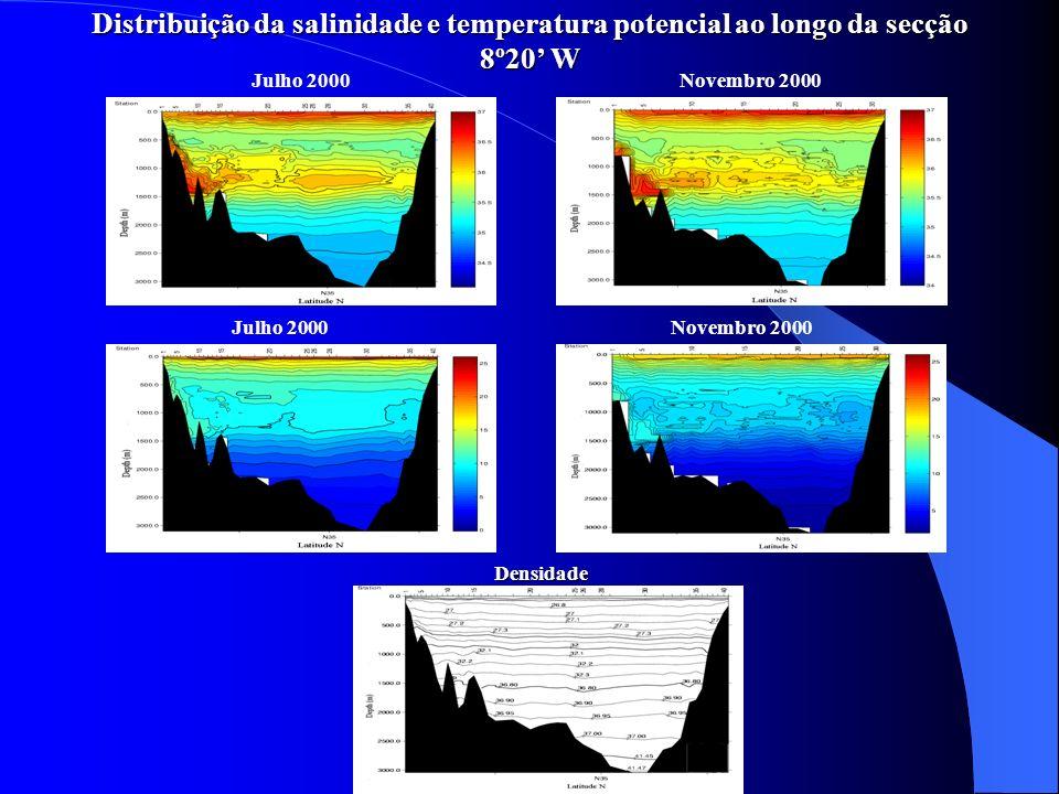 Distribuição da velocidade do som ao longo da secção 8º20W Julho 2000Novembro 2000 A velocidade do som na água no mar aumenta com a pressão, salinidade e temperatura Dois canais de som SOFAR centrados aos 500 m e aos 2000 m.