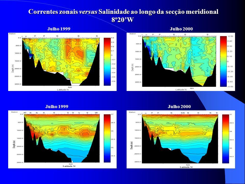 Modelo Inverso Camadas definidas : 1ª Camada da superfície até à isopícnica γ 0 =27.20 kg.m -3 2ª Camada da isopícnica γ 0 =27.20 kg.m -3 até à isopícnica γ 2 =36.90 kg.m -3 3ª Camada da isopícnica γ 2 =36.90 kg.m -3 até ao fundo Balanço de volume Transportes impostos a priori no Estreito de Gibraltar 0.72 Sv para este na 1ª camada 0.00 Sv na 2ª camada 0.68 Sv para oeste na 3ª camada Transportes impostos a priori na secção 8º20W 3.00 Sv para este na 1ª camada 3.00 Sv para oeste na 2ª camada 0.00 Sv na 3ª camada Balanço de salinidade Q i.S i =Q o.S o Q i = 0.72 Sv ;S i =36.10;Q o = 0.68 Sv ;S o = 38.22