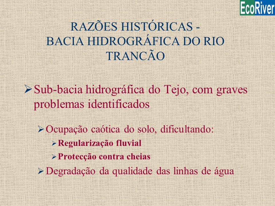 RAZÕES HISTÓRICAS - BACIA HIDROGRÁFICA DO RIO TRANCÃO ØSub-bacia hidrográfica do Tejo, com graves problemas identificados Ø Ocupação caótica do solo,